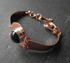 LOVE! pure copper cuff with handmade lampwork cabochon