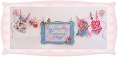 Stitch a personalized Sunshine Line birth sampler for your summer girl. The model was stitched on 14 count Ecru perforated paper with DMC floss