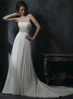 Flowly princess style empire waist A-line Chiffon wedding dress. Perfect for a winter cocktail wedding :)