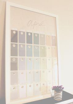 DIY Paint Swatch Wall Calendar