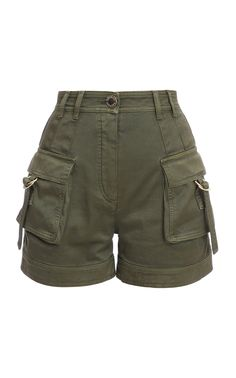 Stretch-Cotton High-Rise Cargo Shorts by Balmain Cute Casual Outfits, Summer Outfits, Casual Shorts, Jugend Mode Outfits, Pantalon Cargo, Teen Fashion Outfits, Fashion Days, Black Knees, Aesthetic Clothes