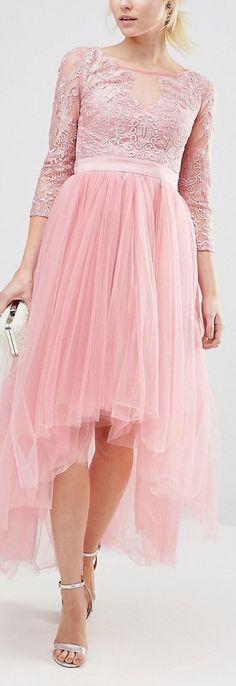Chi Chi London Petite Premium Metallic Lace Midi Prom Dress With Tulle Skirt