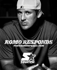 "Tony Romo's new ad campaign ""Romo Responds"" TonyRomoSpeaks.com. Image courtesy of Starter"
