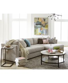 Leonora 2-Pc. Sectional with Chaise & 5 Toss Pillows, Only at Macy's - Sectional Sofas - Furniture - Macy's