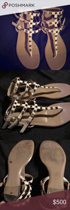 380e61157b1d Valentino Rockstud flat sandals. Cream colored Valentino sandals with gold  studs. Size 37.5.