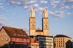 Grossmünster Zurich, Empire State Building, San Francisco Ferry, Notre Dame, Switzerland, Cathedral, Travel, Viajes, Cathedrals