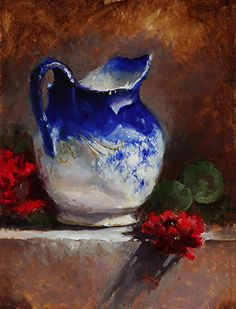 Her Favorite Flo Blue Pitcher by Kathy Tate Oil ~ 16 x 12 Mais Realistic Paintings, Small Paintings, Art Watercolor, Still Life Oil Painting, Bird Artwork, Art Sculpture, Oil Painting Flowers, Still Life Art, Art Oil