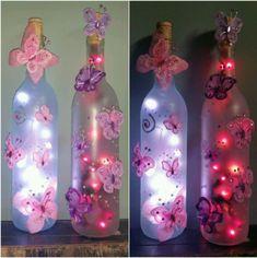 Butterfly lighted bottle Glass Bottle Crafts, Diy Bottle, Bottle Art, Butterfly Birthday Party, Butterfly Baby Shower, Lighted Wine Bottles, Bottle Lights, Butterfly Lighting, Girl Baby Shower Decorations