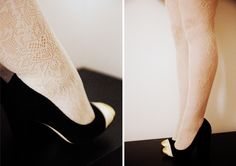 textured lace tights are a must this winter. get the look on cupcakeMAG