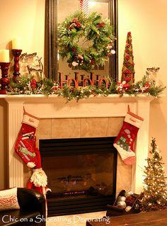 Christmas Fireplace and Mantel
