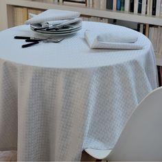 Nappe style scandinave Garnier-Thiebaut - Modèle : Reflection - Nappe en coton anti-tâche - Coloris : gris