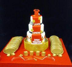 "Baby shower cake ""lights camera action"""
