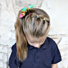 """130 Likes, 14 Comments - Little Girl Hairstyle Ideas (@l_r_hairstyles) on Instagram: """"Bubble ponies into a side ponytail. Cute and simple for school. . . . . #lrhairstyles…"""""""