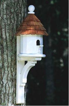 "Flush Mount Architectural Birdhouse in Vinyl/PVC- Birdhouse: 9.25"" diameter x 14"" tall, weight is 8 lbs. Bracket: 8.25"" deep x 18"" tall, weight is 2 lbs."
