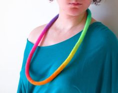Felt Necklace. Neon Rainbow Necklace. Felted Necklace. Handmade Felt Jewelry #EasyNip
