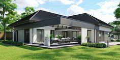 DOM.PL™ - Projekt domu CPT HomeKONCEPT-68 CE - DOM CP1-82 - gotowy koszt budowy Modern Bungalow Exterior, Modern Bungalow House, Bungalow House Plans, Modern Farmhouse Exterior, Dream House Exterior, Village House Design, Bungalow House Design, Village Houses, Modern House Design