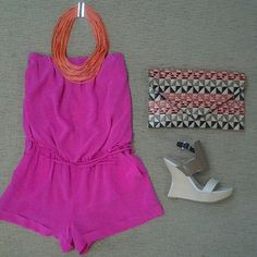 Lavender Brown hot pink romper, Zenzi orange string necklace, Pella Moda Burlywood wedge, snd multi combo clutch.