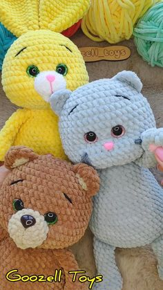 CROCHET PATTERNS: Bunny, Cat & Bear, Amigurumi animal pattern, Crochet rabbit, kitty, teddy bear toy