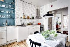 A lovely Swedish kitchen with blue accent