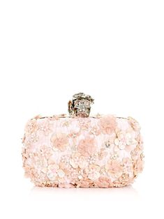 Alexander McQueen Pale Pink Floral Embroidered Clutch with Swarovski Crystal Embellished Skull Clasp. So suttle yet captivating, so femme, so, so, so..... .
