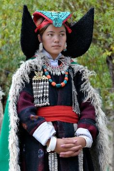 Ladakh - India  People | 'Young Lady' © Kieron Nelson - gorgeous turquoise head piece