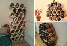 Shoe rack made from recycled PVC piping or cardboard cylinders.