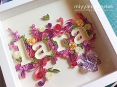Paper lettering, quilling. Not sure I even know what quilling is but this helps give me an idea.