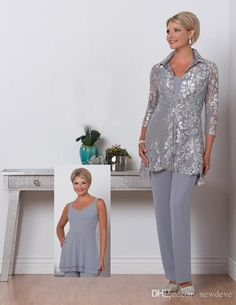 Three Pieces Mother Of the Bride Plus Size Pant Suit Scalloped Neck Mothers Suit With Lace Jacket