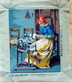 Vintage Finished / Completed Needlepoint - Old woman spinning wool or yarn on spinning wheel