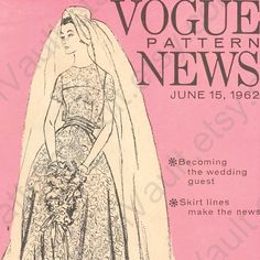 Vintage 1962 bridal gown Vogue pattern.