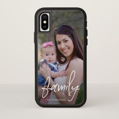 Trendy Hand Lettered Family Script with Add Photo iPhone X Case - diy cyo customize create your own personalize