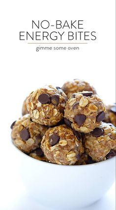 No-Bake Energy Bites -- quick and easy to make, naturally sweetened with honey, and SO delicious! Perfect for a quick breakfast, snack, or even a healthy dessert. Healthy Protein Snacks, Protein Bites, Healthy Treats, Healthy Desserts, Healthy Energy Bites, Frozen Desserts, Vegan Energy Balls, Healthy Foods, Gourmet Recipes