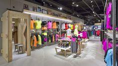 Sportmaster flagship store by Riis Retail, Kolding – Denmark » Retail Design Blog Visual Merchandising, Retail Fixtures, Optical Shop, Retail Concepts, Monochrome Color, Retail Interior, Digital Signage, Sports Shops, Shop Interiors