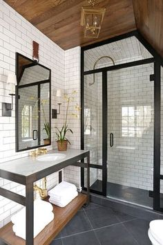 Contemporary 3/4 Bathroom with Rain Shower Head, Wall sconce, BelTile White Subway Tile 3x6 Glossy, Console Sink, flush light