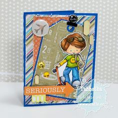 Seriously Cool Sk8tr - The Zadis Project #cardmaking #copicmarkers #tiddlyinks