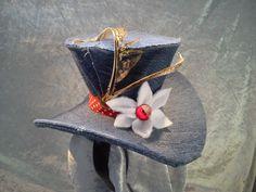 unique fun denim mini top hat with white by honeypotcreation