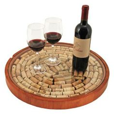 Wooden Turnable Lazy Susan Glass Top Turntable Wine Tray Cork Display Bar Pub