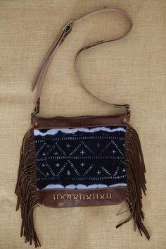 Leather Shoulder Bag with Fringe and Indigo Mud Cloth