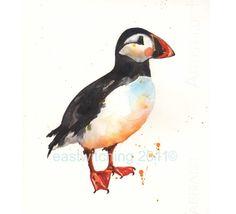 PUFFIN Watercolour Print, Wannabe Lighthousekeeper Gift, puffin painting, coastal art