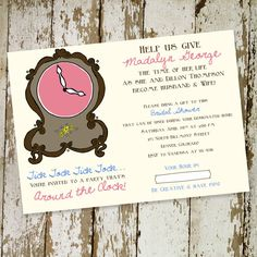 around the clock bridal shower invitation, or baby shower invitation shabby chic style, DIY PRINTABLE (item 360) on Etsy, $13.00
