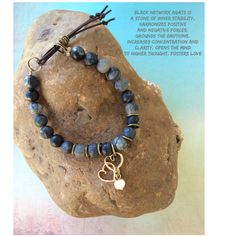 Black network agate- adjustable size bracelet with pearl and heart charm $15.00