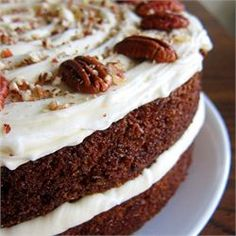 Carrot Cake III - Allrecipes.com I like to cut the confectioners sugar down by half and add a little lemon squeeze and zest in the frosting. Toast and salt the pecans (or candy them) before adding to batter. Mmmmm