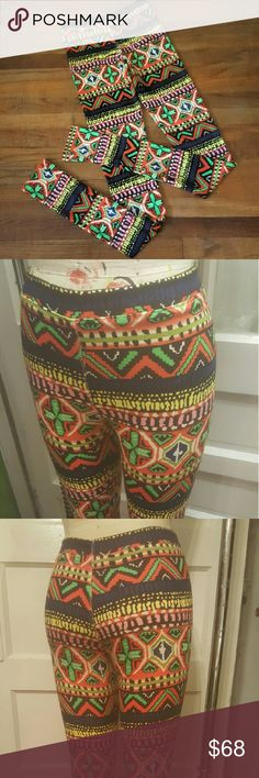 Electric legs! Brand new One of a kind electric bright tribal print double knit leggings with extra long length perfect for wearing over feet or bunched. Size M (6/8) Pants Leggings