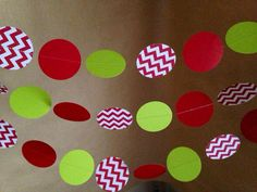 Red, White and Chevron Lime Green Paper Garland Party Decor, Baby Shower, Photo Prop, Christmas and Holiday Decor, Classroom Decor, Etc on Etsy, $8.25
