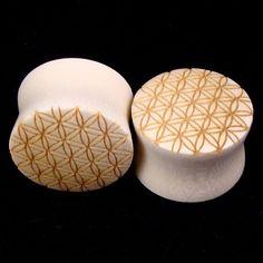 "1"" Sacred Geometry Wooden Plugs $40.00 on etsy"