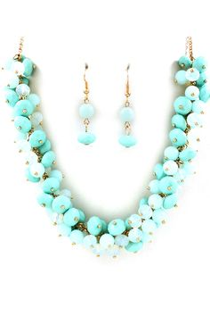 Ocean Blue Bea Cluster Necklace - Clusters of Ocean Blue, Aqua and Opalescent Faceted Crystal Beads accented with a touch of Gold.