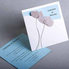 faire part mariage lotus original du fond bleu JM141