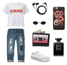 My first look by kristinaapaguni on Polyvore featuring polyvore, fashion, style, Miss Selfridge, Hollister Co., Converse, Gucci, Sennheiser, Chanel and clothing