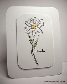 handmade card from Simplicity blog ... clean and simple layout ... one panel with wide margins ... simple line art daisy drawing ... Stickles for coloring ... big rounded corners ... luv it!