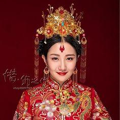 cc3c01de3 Amazon.com : Generic Xi custom hand-made ornaments of Coronet costume  headdress bride crown tiara tiara golden tassels hairpin Xiu Chinese dress  coat ...